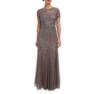 Adrianna Papell Beaded Mesh maxi Gown new